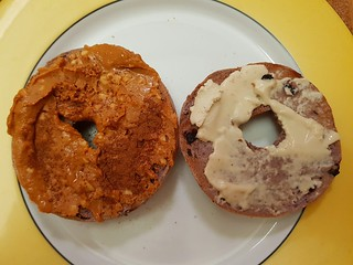 Blueberry Bagel with Peanut Butter and Sesame Cheese