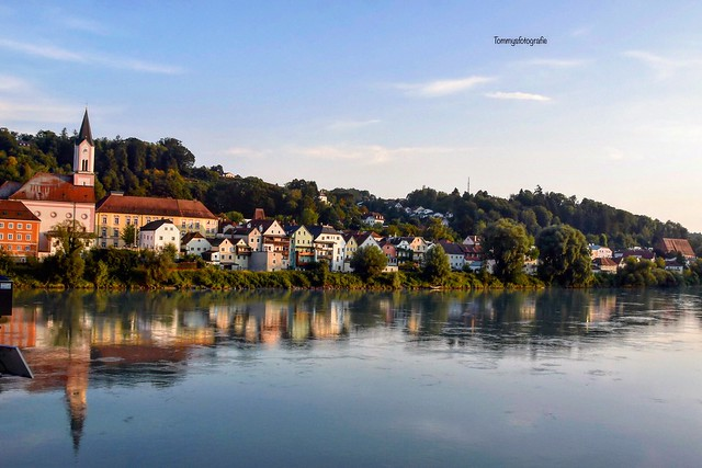 The river Inn in Passau at sunsettime