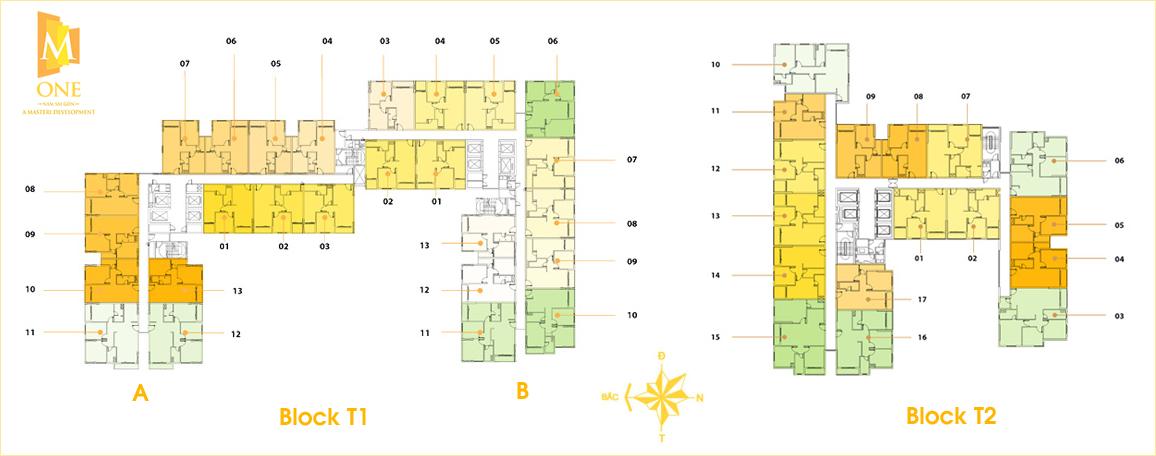Mặt bằng căn hộ M-One Nam Sài Gòn các tháp T1 và T2.