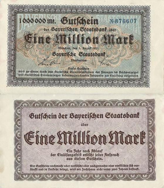 1.000.000 Mark 1923 Deutsches Reich - Bayern