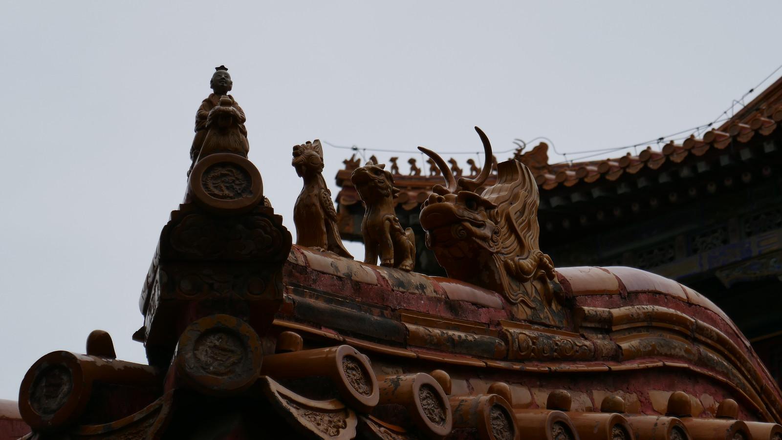 Figuras decorativas en los tejados de la Ciudad Prohibida, exclusivas de los edificios imperiales