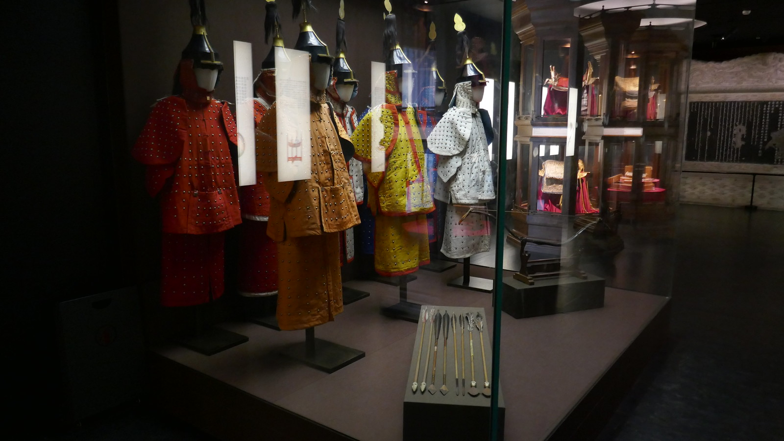 Algunos de los objetos expuestos en el Pabellón Arquero de la Ciudad Prohibida