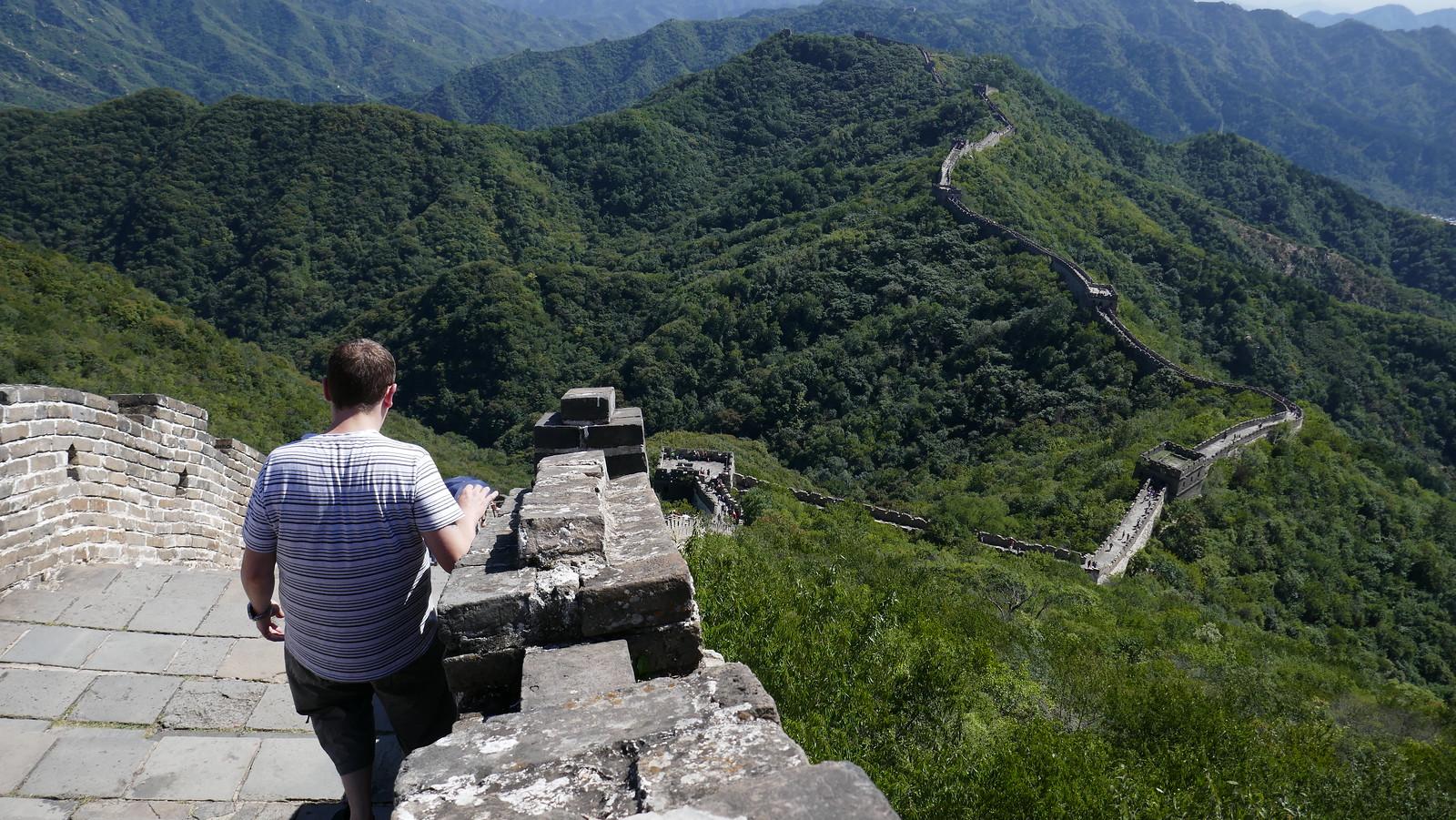 En esta foto se aprecia bastante bien alguna de las increíbles pendientes que tiene la Gran Muralla