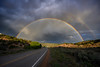Double rainbow over the Old Las Vegas Highway near Santa Fe, New Mexico