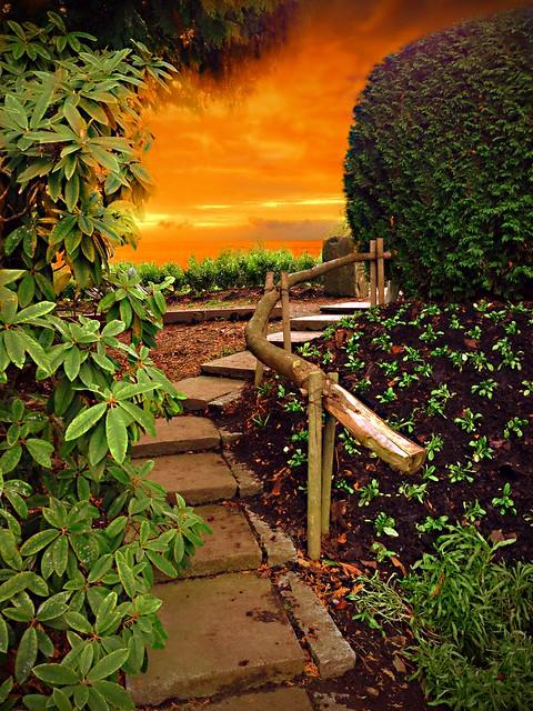 Brampton Ontario - Canada - Alderlea Mansion  - Garden Walkay at Sunset