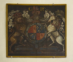 Queen Anne royal arms relettered for George I