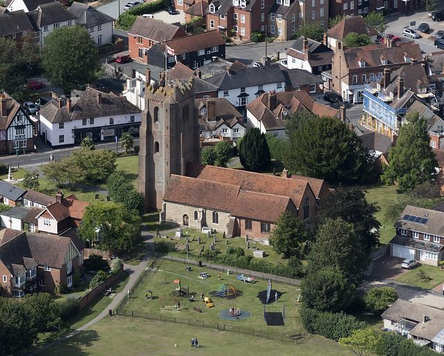 Ingatestone St Edmund & St Mary's Church - Essex UK aerial image
