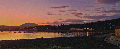 rhu scotland marina night evening nightfall sunset sky clouds hills mountain gareloch buildings lights reflections vivid colour water loch shore shoreline boats yachts wall outdoor art artwork