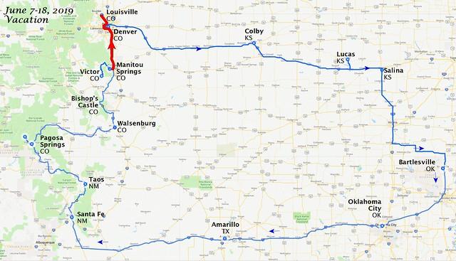 Trip Map, Days 9-10