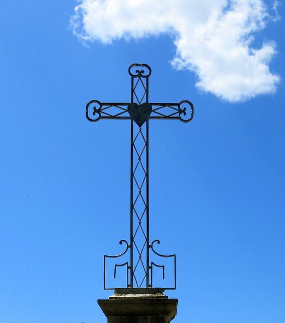 Iron Sacred Heart Cross, the cemetery of Villecroze, Var, Provence