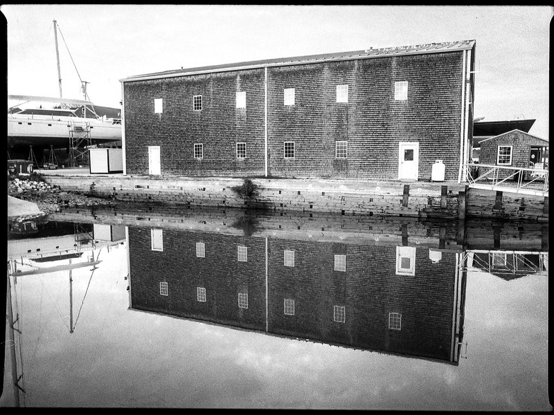 architecture, reflections, Lyman Morse Boat Yard, Thomaston, Maine, Mamiya 645 Pro, mamiya sekor 45mm f-2.8, Bergger Pancro 400,  HC-110 developer,  9.13.19