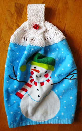 Snowman Crocheted Towel Topper