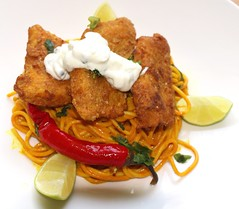 """FRIED FISH DABBAWALLA"" – OCEAN PERCH, CURRIED NOODLES, AND MINT YOGURT"