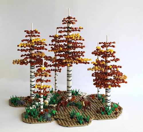 Birch Forest in fall (with Grantmaster's mini deer design)