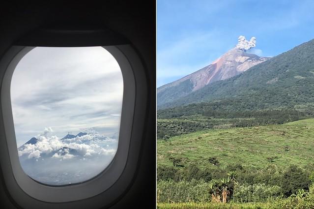 [De cima e de frente] erupção do Vulcão de Fogo