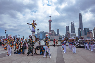 Indonesian soldiers parade on The Bund, Shanghai