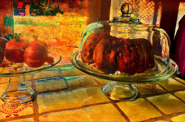 Rosh HaShanna Challah and Pomegranates Painting
