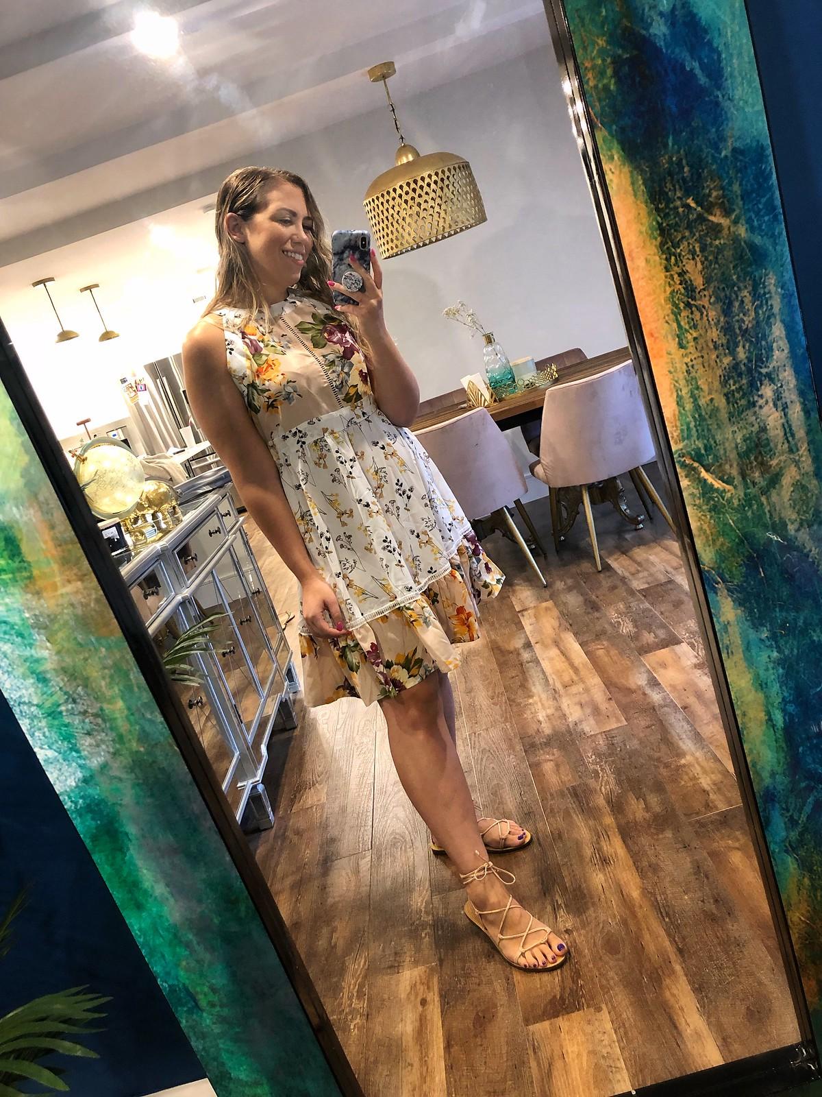 SHEIN Floral Print Sleeveless Halter Dress