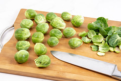 Brussel Sprouts on the wooden board