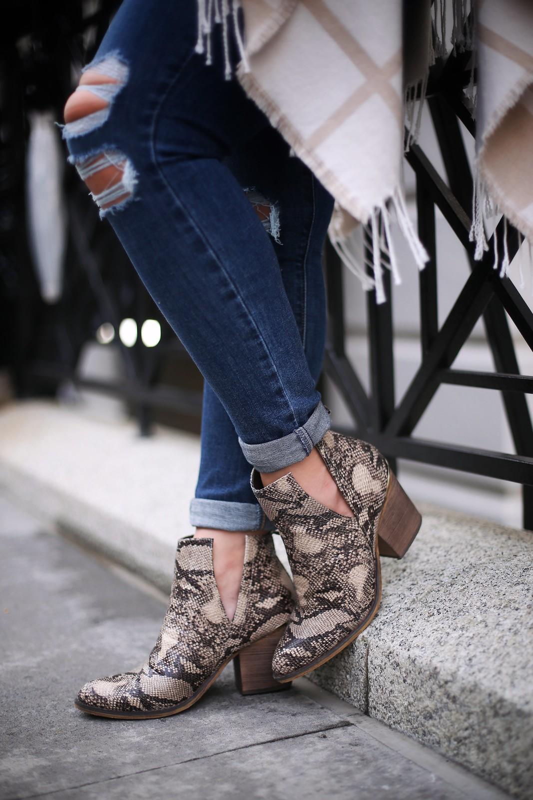 JCPenney Pop Womens Chantilly Block Heel Booties Snake Skin Boots