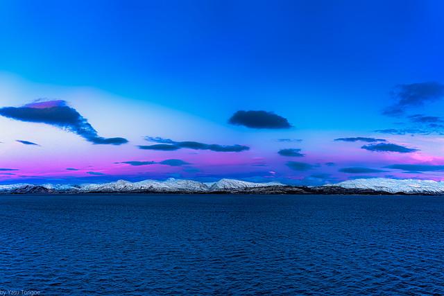 Colorful sunset view of landscape along the mouth of Vefsnfjorden between Mindlandet and Tjotta Islands, Norway-20a
