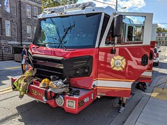 Today at the annual Westminster Fallfest Touch a Truck event, the Westminster Fire Dept. has on display it's new Engine 32. It is a custom built 2018 Rosenbauer pumper with a 1,000 gallon water tank, and a 450 Cummins motor. Engine 32 is an efficient and