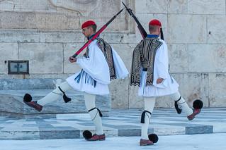 Wachsoldaten am Parlamentsgebäude Athen