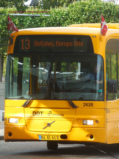 Portrait of 2007 Volvo B7RLE Keolis 2626 wearing flags on route 13 for the last time - in 2 weeks time it moves to a different contract