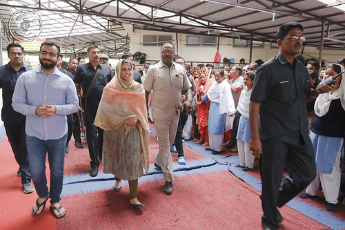 Her Holiness with entourage after concluding Satsang Programme
