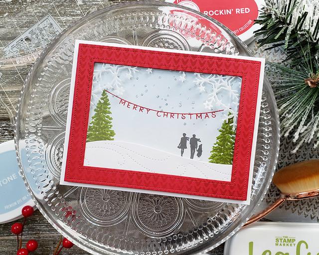 LizzieJones_TheGreetery_October2019_ChristmasEve_DriftingDie_FrostyCornersDie_MerryChristmasShakerCard1