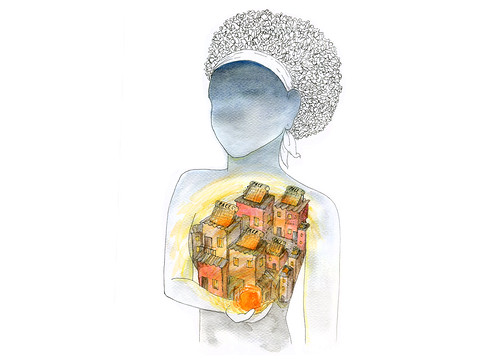 An image of a woman from The Surefoot Effect's sustainability themed graphic novel