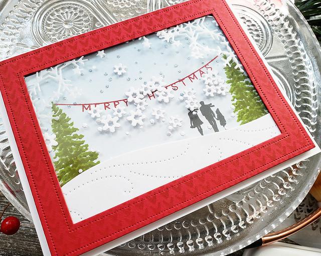 LizzieJones_TheGreetery_October2019_ChristmasEve_DriftingDie_FrostyCornersDie_MerryChristmasShakerCard2