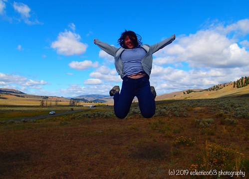jumping for joy, in...