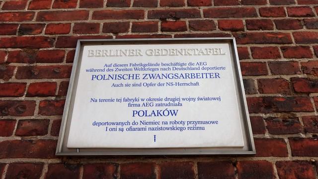 1995 Berlin Berliner Gedenktafel Polnische Zwangsarbeiter bei der AEG Gustav-Meyer-Allee 25 in 13355 Gesundbrunnen