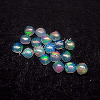 Natural Ethiopian Opal Cushion Cabochon Opal Loose Gemstone Smooth Polished Calibrated Size 4mm 5mm 6mm 7mm 8mm