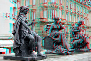The statues of the six continents at the Musée d'Orsay  Paris 3D