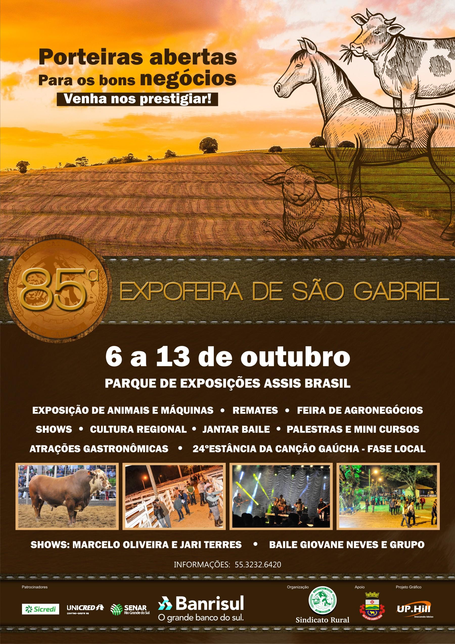 Prestigie a 85ª Expofeira de São Gabriel - de 6 a 13 de outubro