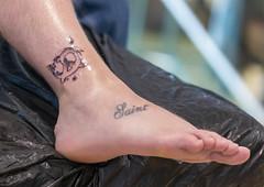 Brezel-Tattoo von Styng Tattoo, zum Anlass von der Bits & Pretzels Gründer-Konferenz in München