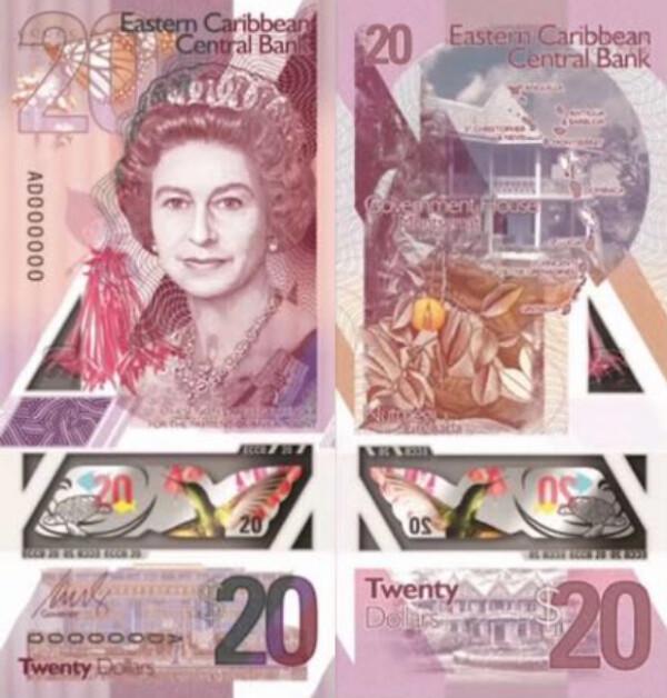 20 Dolárov Východný Karibik 2019, polymer