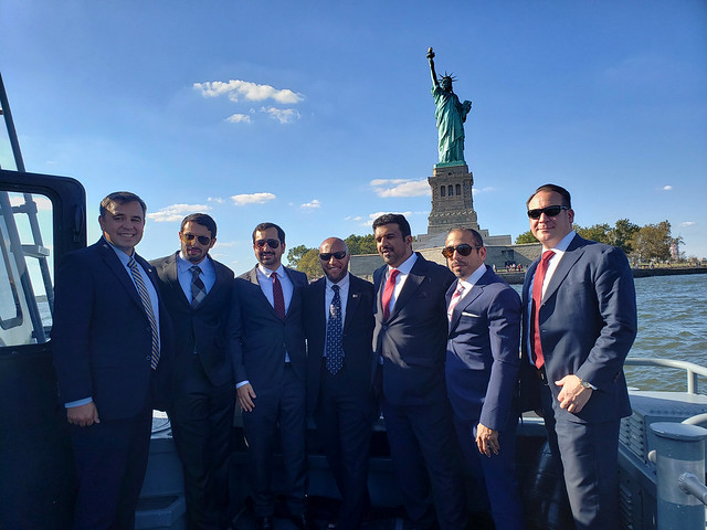 Two DSS supervisory special agents and a FBI special agent escort the Qatari delegation on a trip to the Statue of Liberty in NYC during UNGA 74, Sept. 25, 2019.
