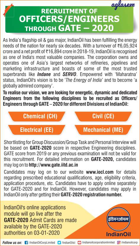 IOCL Recruitment through GATE 2020: Notification out, Free online application commences in January