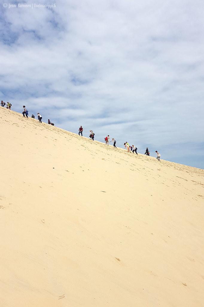Ylös kapuavia vierailijoita hiekkamäessä