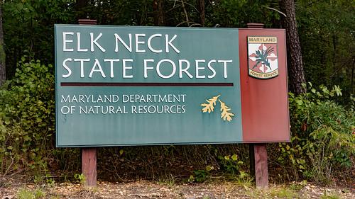 Photo of Elk Neck State Forest entrance sign