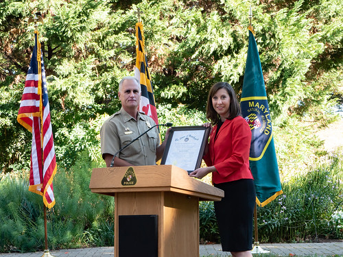 Photo of Superintendent Col. Adrian Baker and Secretary Jeannie Haddaway-Riccio at Col. Baker's swearing-in ceremony