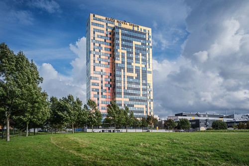 elite hotel ideon lund sweden trees grass building modern sky colours clouds d750 blue sunshine city windows landscape tokina1628mmf28 nikond750