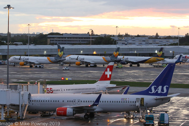 4 of the Thomas Cook fleet now stored at Manchester, in this dusk scene