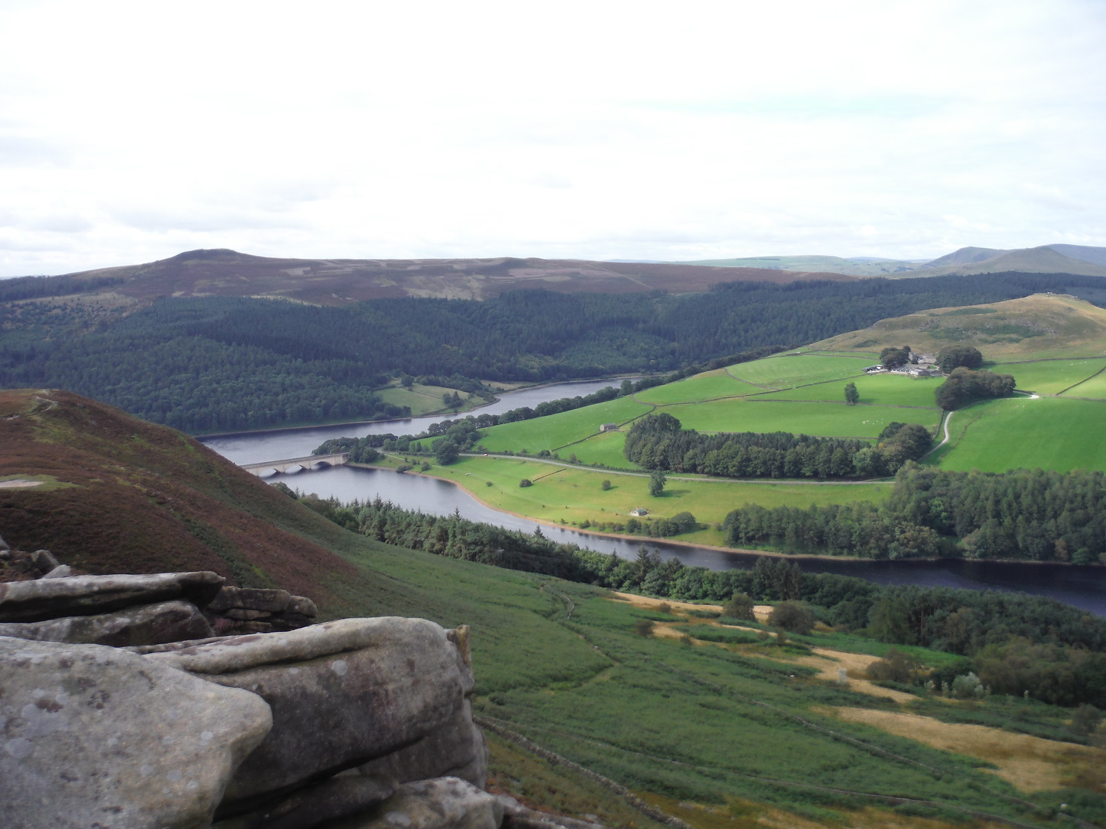 Ladybower Reservoir, Woodlands Valley, Win Hill. From top of Whinstone Lee Tor SWC Walk 348 - Ladybower Inn Circular (via Derwent Edges and Strines)