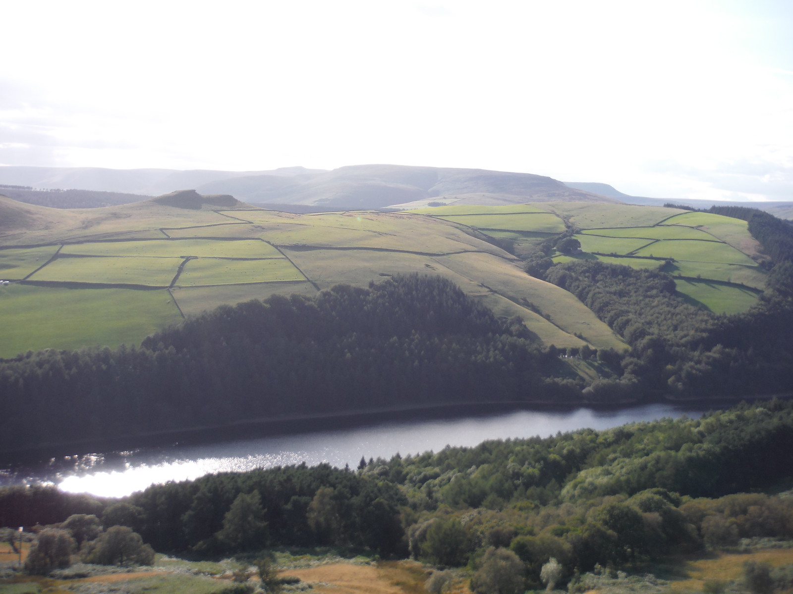 Evening View across Ladybower Reservoir and Crook Hill towards Kinder Scout, from Six-Way Junction SWC Walk 348 - Ladybower Inn Circular (via Derwent Edges and Strines)