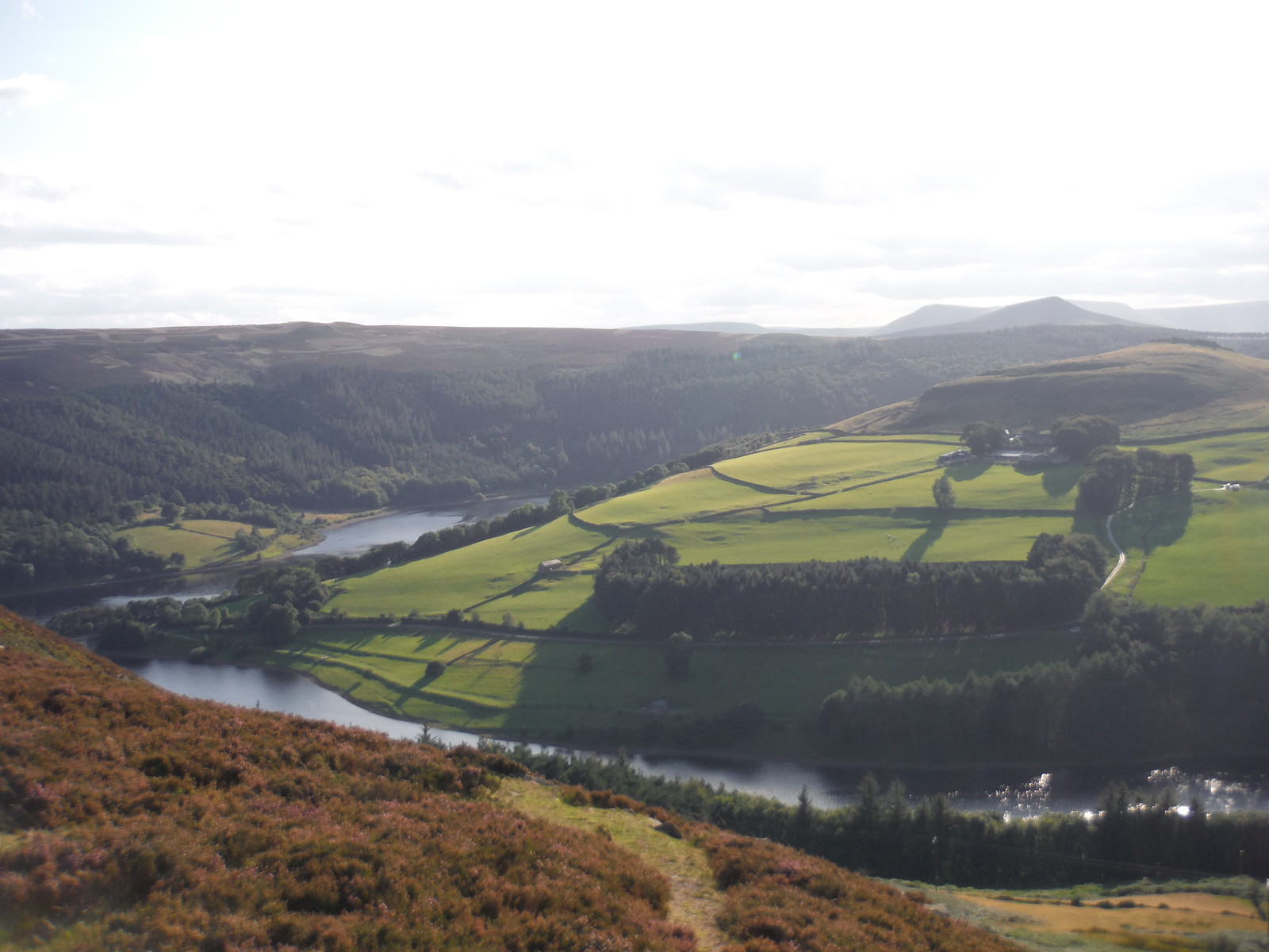Evening View of Woodlands Valley and Ladybower Reservoir, from Six-Way Junction SWC Walk 348 - Ladybower Inn Circular (via Derwent Edges and Strines)