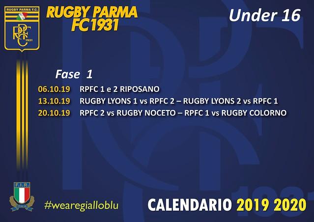 Calendario Under16 Fase1